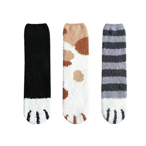 Fluffy Cat Paw Fuzzy Fleece Socks - Black+Light Spots+ Stripes 3 Pairs Set / Women's Shoe Size 5-10 - UPKIWI