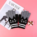 Cute Cat Touch Screen Gloves - Black - UPKIWI