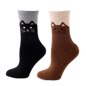 Happy Cat Feet Extra Thick and Warm Women's Wool Socks - 2 Pairs- Black Brown / Women's Shoe Size 6-12 - UPKIWI