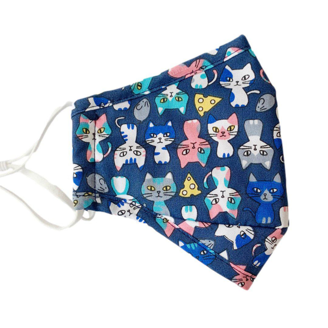 Adjustable Blue Cat Pattern Face Covering for Adults and Kids - Adult - UPKIWI