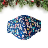 Adjustable Blue Cat Pattern Face Covering for Adults and Kids - UPKIWI