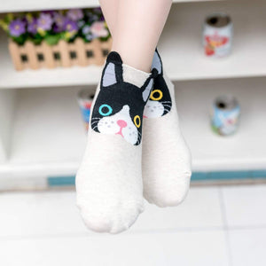 Cartoon Cat Women's Low Cut Socks - 5 Pairs Pack / Women's Shoe Size 5-10 - UPKIWI