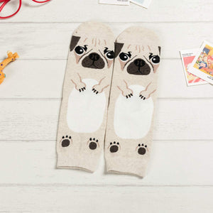 Cartoon Dog Breed Socks - Pug / Women's Shoe Size 5-10 - UPKIWI