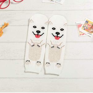 Cartoon Dog Breed Socks - Samoyed / Women's Shoe Size 5-10 - UPKIWI