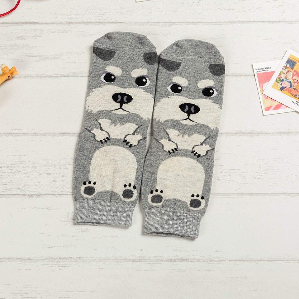 Cartoon Dog Breed Socks - Schnauzer / Women's Shoe Size 5-10 - UPKIWI