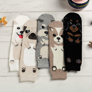 Cartoon Dog Breed Socks - 5 Pairs Pack / Women's Shoe Size 5-10 - UPKIWI