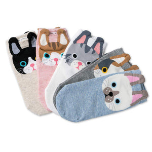 Cartoon Cat Women's Low Cut Socks - - UPKIWI