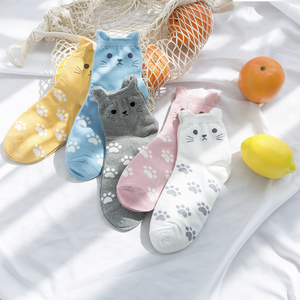 Cat Ear Women's Socks - 5 Pairs Pack (5 Colors) / Women's Shoe Size 5-10 - UPKIWI
