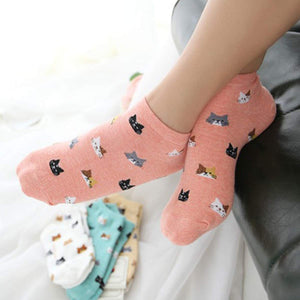 Cat Face Pattern Women's Low Cut Socks - - UPKIWI