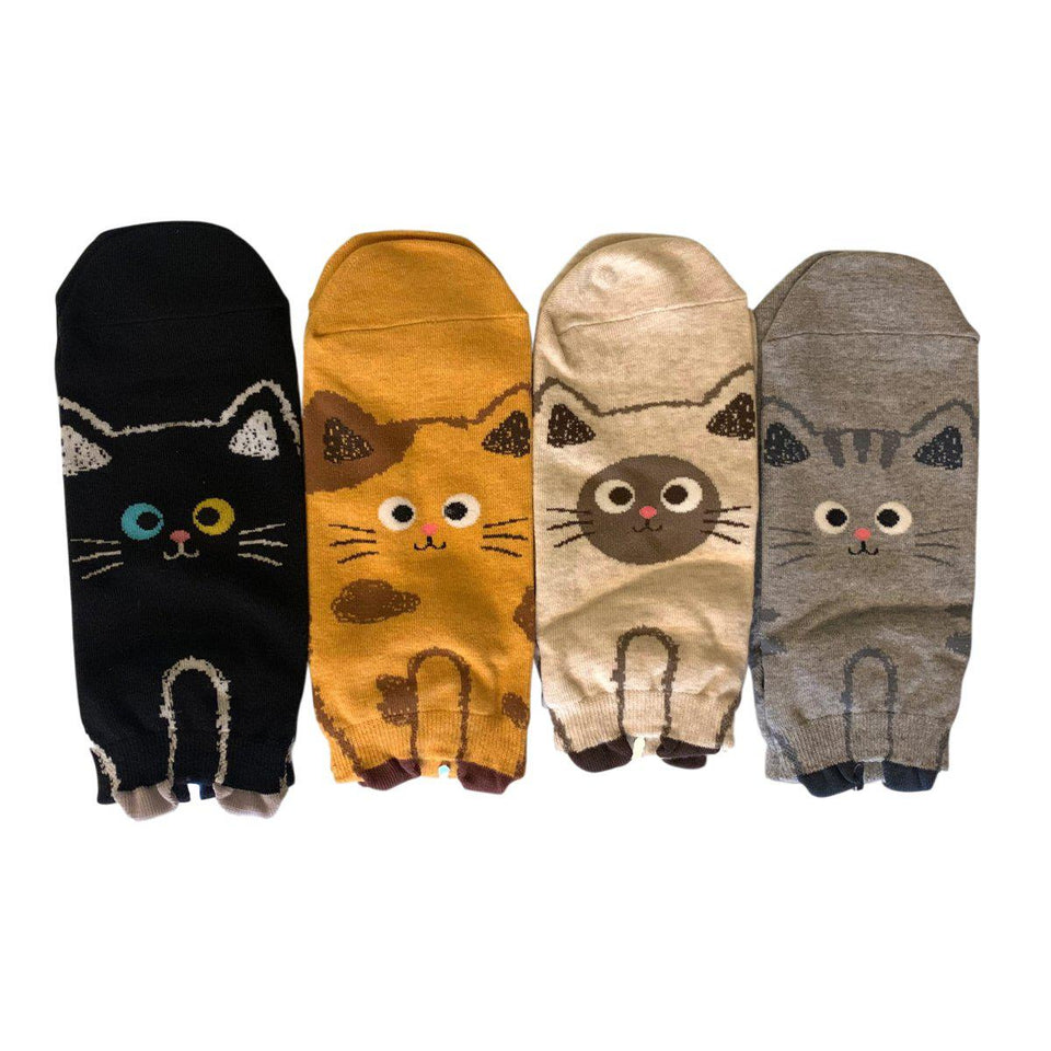 Funny Kitty Feet Women's Low Cut Socks - 4 Pairs Pack / Women's Shoe Size 5-9 - UPKIWI