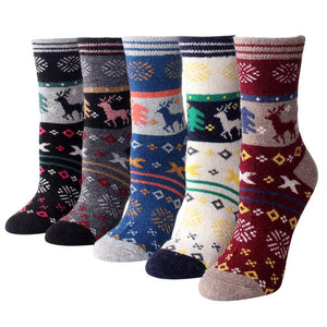 Christmas Reindeer Colorful Wool Socks - 5 Pairs Pack / Women's Shoe Size 5-10 - UPKIWI