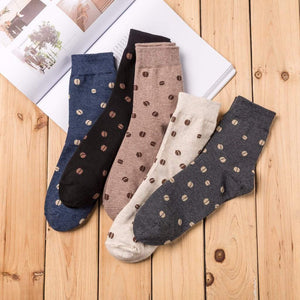 Coffee Bean Men's Socks - 4 Pairs Pack (black, navy, brown, white) / Men's Shoe Size 7-11 - UPKIWI