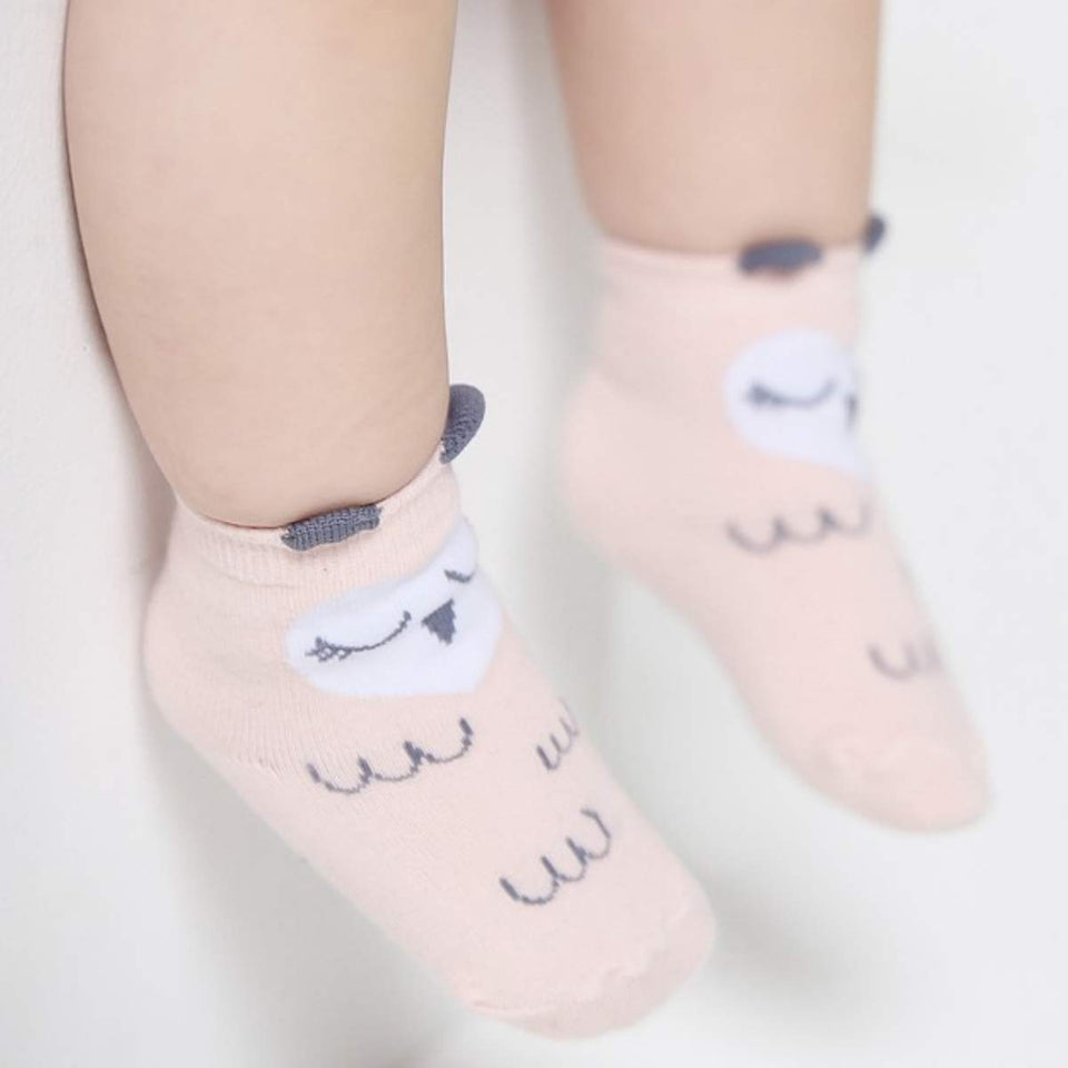 Owl and Dog Cozy Baby Toddler Kids Socks (0-4 Years Old) - S 0-2T / Pink Owl - UPKIWI