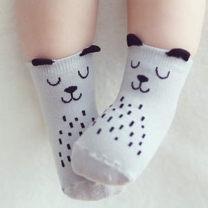 Owl and Dog Cozy Baby Toddler Kids Socks (0-4 Years Old) - S 0-2T / Gray Dog - UPKIWI