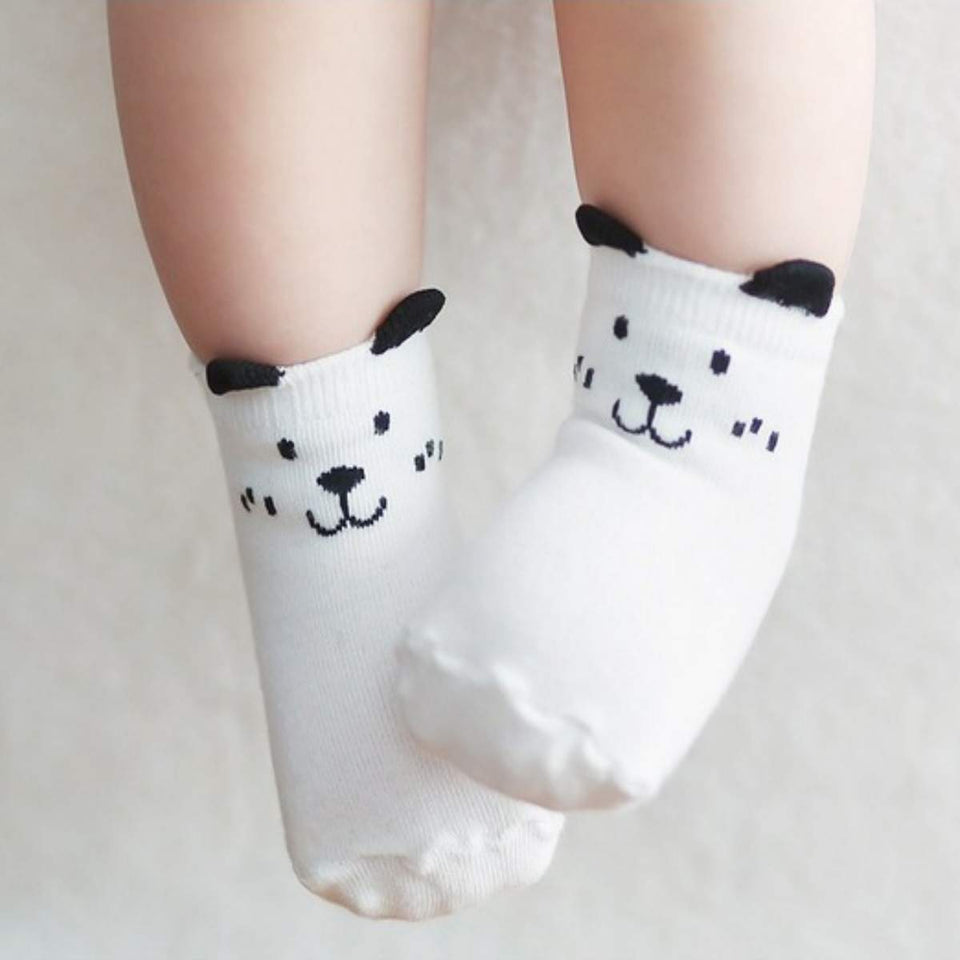 Owl and Dog Cozy Baby Toddler Kids Socks (0-4 Years Old) - S 0-2T / White Dog - UPKIWI