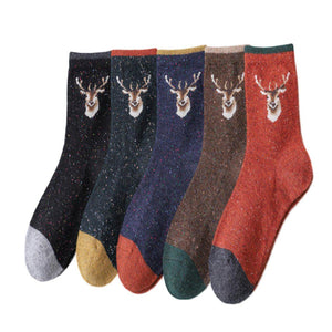 Deer Head Women's Lightweight Wool Blend Socks 5 Pack - 5 Pairs Pack / Women's Shoe Size 5-10 - UPKIWI