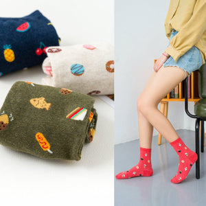 Sushi Fruit Desserts Food Variety Pattern Women's Ankle Socks - UPKIWI