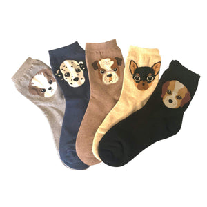 Dog Face Women's Ankle Socks - 5Pairs Pack / Women's Shoe Size 5-9 - UPKIWI