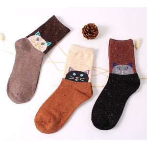 Forest Cat Lightweight Wool Blend Socks - Black / Women's Shoe Size 5-10 - UPKIWI