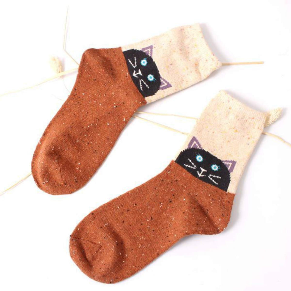 Forest Cat Lightweight Wool Blend Socks - UPKIWI