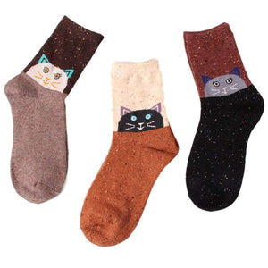Forest Cat Lightweight Wool Blend Socks - 3 Pairs Pack / Women's Shoe Size 5-10 - UPKIWI