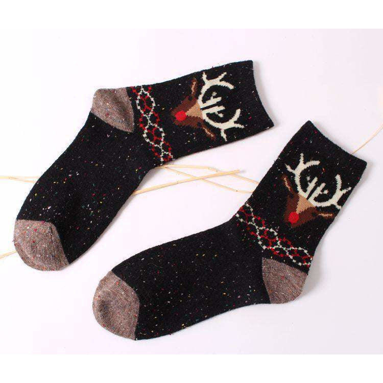 Forest Deer Lightweight Wool Blend Socks - Black / Women's Shoe Size 5-10 - UPKIWI