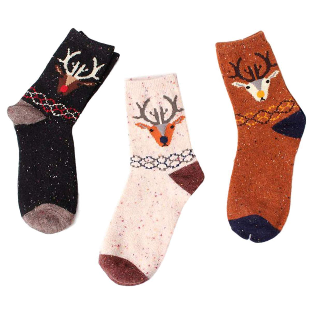 Forest Deer Lightweight Wool Blend Socks - 3 Pairs Pack / Women's Shoe Size 5-10 - UPKIWI