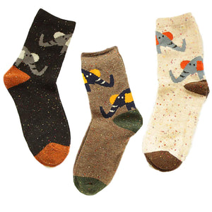 Forest Elephant Lightweight Wool Blend Socks - 3 Pairs Pack / Women's Shoe Size 5-10 - UPKIWI