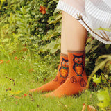 Forest Owl Lightweight Wool Blend Socks - Orange / Women's Shoe Size 5-10 - UPKIWI