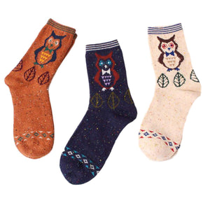 Forest Owl Lightweight Wool Blend Socks - 3 Pairs Pack / Women's Shoe Size 5-10 - UPKIWI