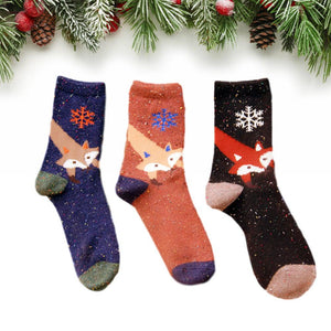 Snowflake Fox Lightweight Wool Blend Socks - UPKIWI