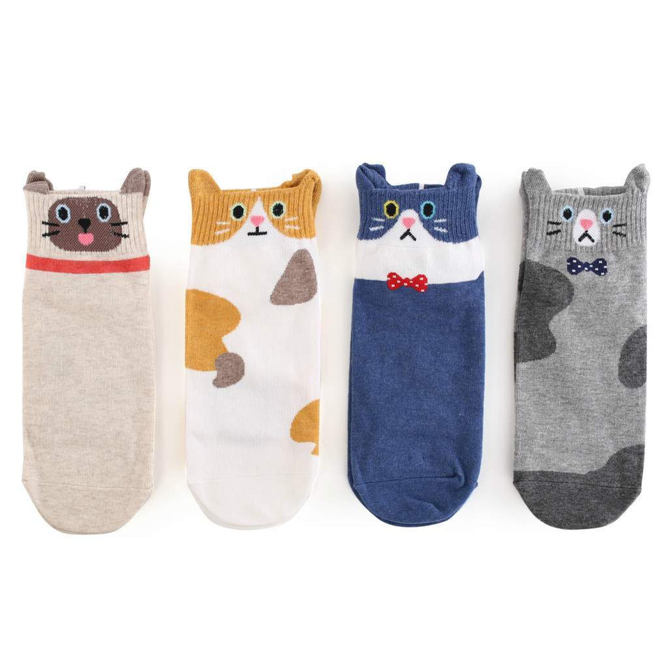 Funny Cat Women's Low Cut Socks - 4 Pairs Pack / Women's Shoe Size 5-9 - UPKIWI