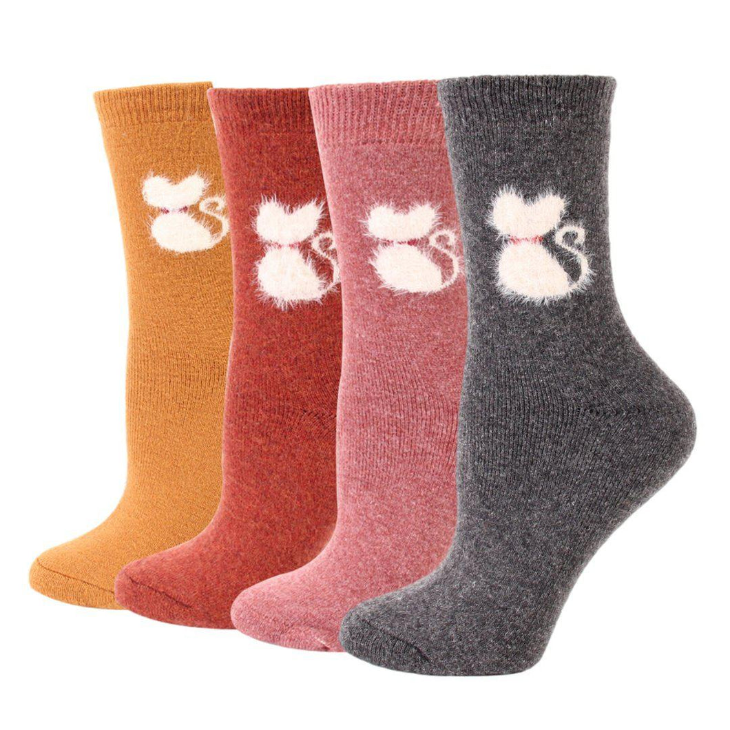 Furry Cat Extra Thick and Warm Women's Wool Socks - 4 Pairs - 4 Colors / Women's Shoe Size 6-12 - UPKIWI