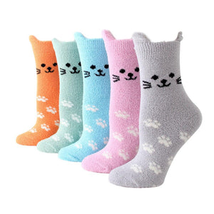 Fuzzy Cat Ear Coral Fleece Women's Cozy Winter Sleep Socks - 5 Pairs Pack (5 Colors) / Women's Shoe Size 5-10 - UPKIWI