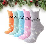 Fuzzy Cat Ear Coral Fleece Women's Cozy Winter Sleep Socks - UPKIWI