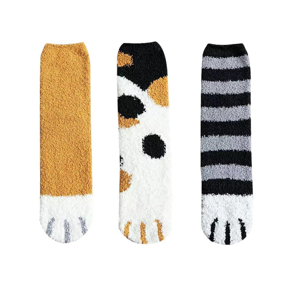 Fluffy Cat Paw Fuzzy Fleece Socks - Ginger+Dark Spots+Stripes 3 Pairs Set / Women's Shoe Size 5-10 - UPKIWI