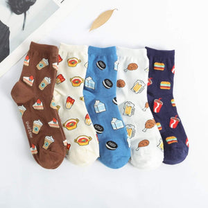 Happy Food Pattern Women's Ankle Socks - 5 Pairs Pack / Women's Shoe Size 5-10 - UPKIWI