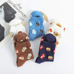 Happy Food Pattern Women's Ankle Socks - UPKIWI