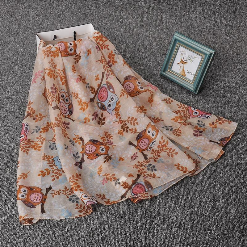 Happy Owl Long Scarf - Beige - UPKIWI