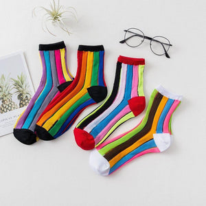 Rainbow Stripe Women's Sheer Socks - - UPKIWI