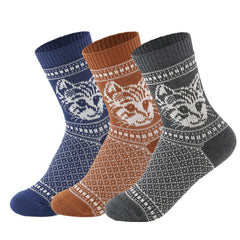 Jacquard Cat Vintage Style Cotton Socks