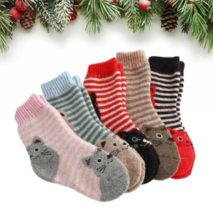 Striped Kitty Cat Kids Wool Blend Socks - UPKIWI