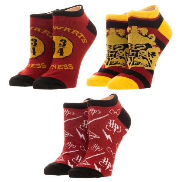 Harry Potter Womens/Juniors Ankle Socks- 3 Pairs Pack