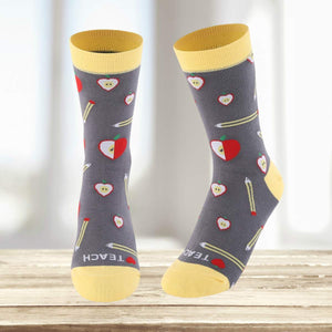 Love Teach Teacher Pattern Women's Crew Socks - - UPKIWI