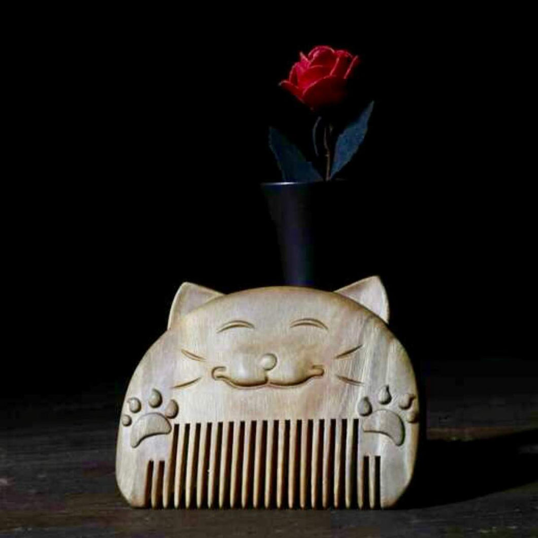 Lucky Cat Natural Wooden Comb - Jade Sandalwood - UPKIWI