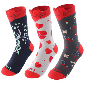Medical EKG Heart Women's Crew Socks - Women's Shoe Size 5-10 / LIVE LOVE HEAL- 3 PAIRS PACK - UPKIWI