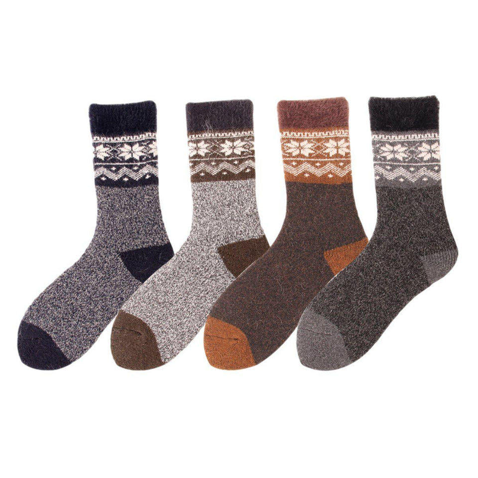 Men's Nordic Ultra Thick and Warm Wool Socks - 4 Pairs Pack / Men's Shoe Size 7-13 - UPKIWI