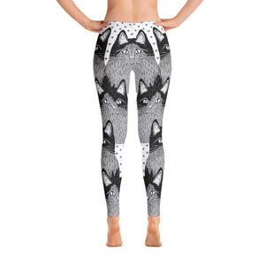 Clever Cat Black Women's All-Over Print Leggings - - UPKIWI