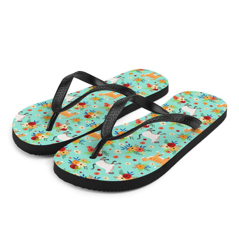 Cats in the Garden Sublimation Flip-Flops - S - UPKIWI