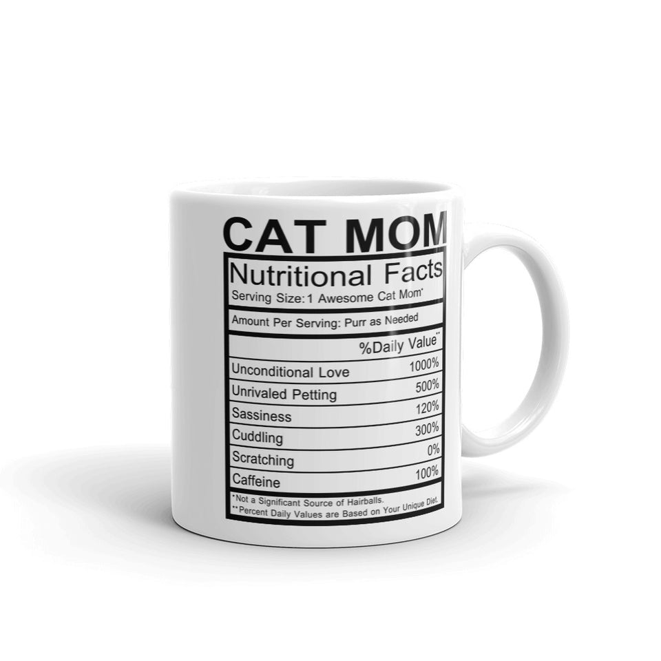 Cat Mom Nutrition Facts Mug - Default Title - UPKIWI